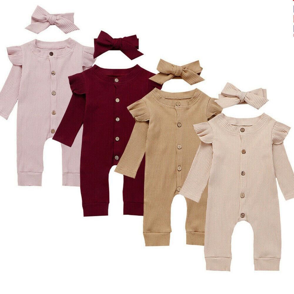 FRLYBABY Newborn Baby Boys Girls Long Sleeve Solid Color Button Knitted Ribbed Warm Romper Outfits Pants Set