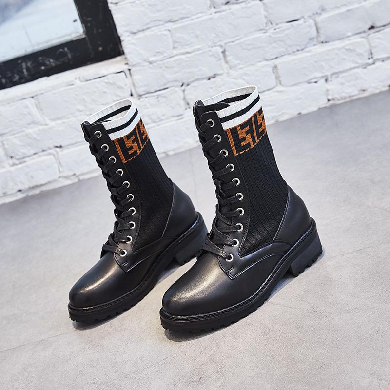 New 2019 Retro Trend Walking Shoes Girls Increase Slim Comfortable lightweight Long-barreled Martin Boots Jogging Yoga Shoes