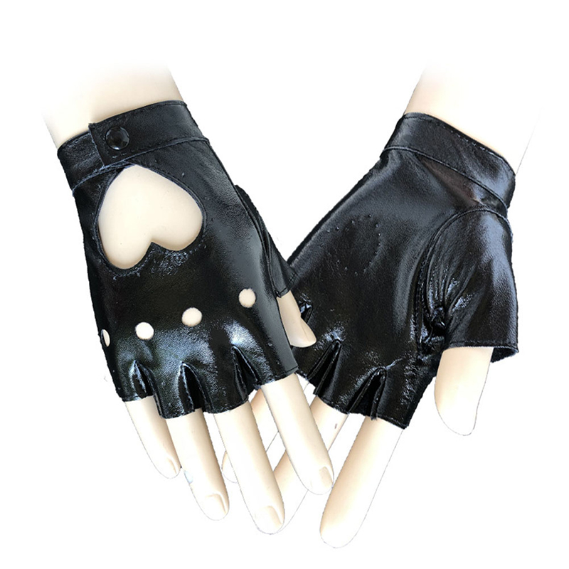 Women's Hollow Peach Heart Leather Gloves Simulation Leather Half Finger Fingerless Cute Korean Women's Fashion Gloves