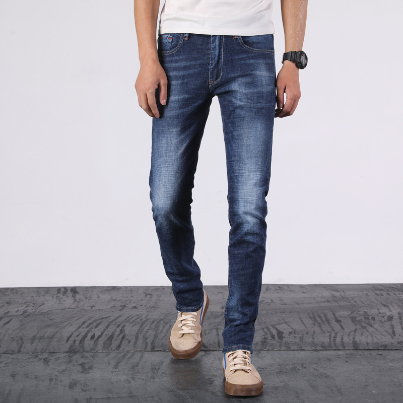 Spring New Style Men Slim Fit Elasticity Jeans Teenager Fashion Pencil Pants Trousers 7638