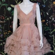 Cocktail-Dress Ruffel Homecoming Evening-Gown   Pink Light Sleeveless V-Neck A-Line