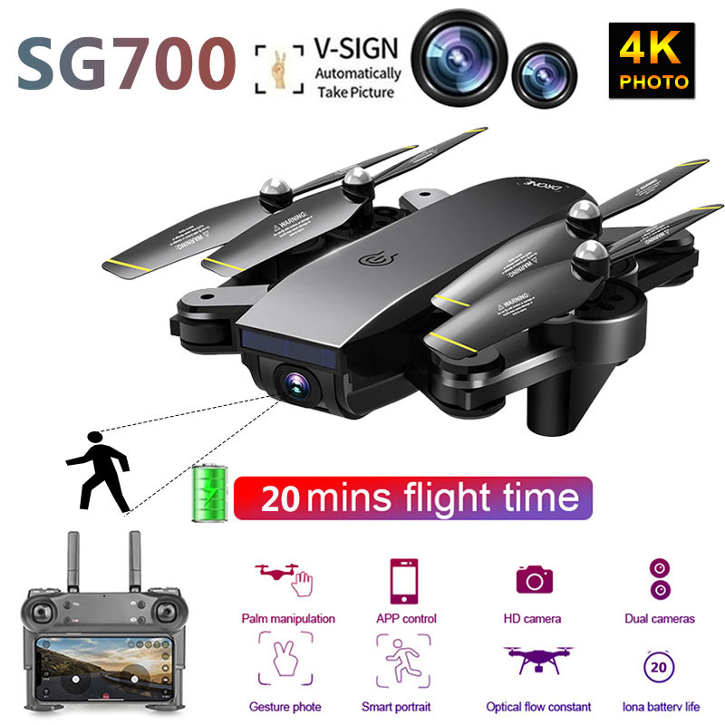 SG700D Drone 4K WiFi FPV Transmission Optical Flow High Hold Helicopter Dual Camera RC Quadcopter  Selfie Dron Toy For Kids