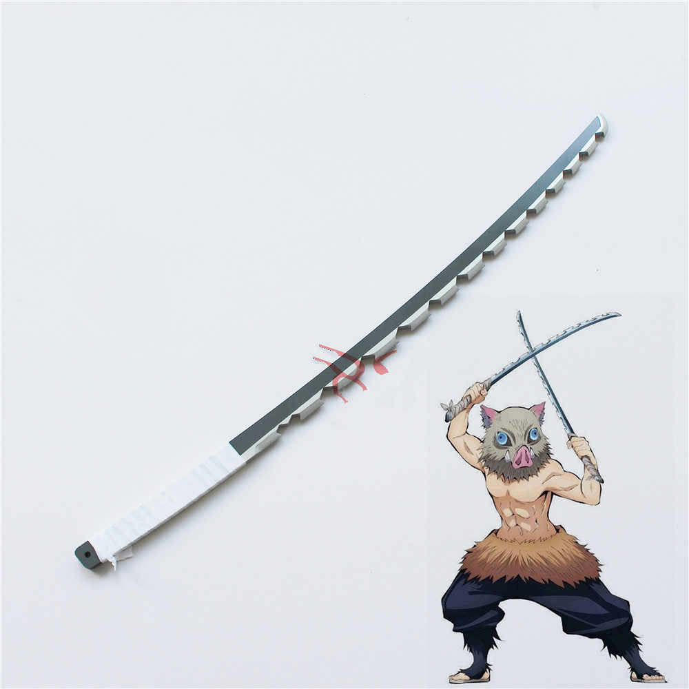 Demon Slayer Kimetsu No Yaiba Hashibira Inosuke PVC Sword Cosplay Prop 2PCS Cosplay Weapons Props for Halloween Fancy Party