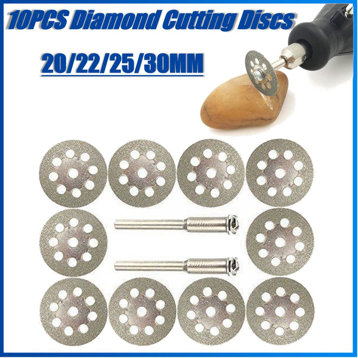 10Pcs 30/25/22/20mm Mini Sharp Diamond Cut Off Rotary Tool Cutting Disc Disks DIY Tools Accessories With Mandrel