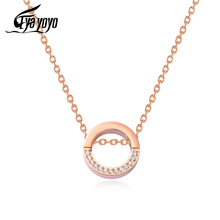 EyeYoYo Round Zircon Pendant Necklace Women Wedding Party Chain Necklace
