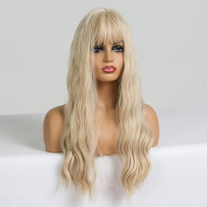 Image 3 - EASIHAIR Long Vanilla Blonde Wave Wigs with Bangs Synthetic Glueless Wigs For Black Women Cosplay Wigs Natural Hair Wigs