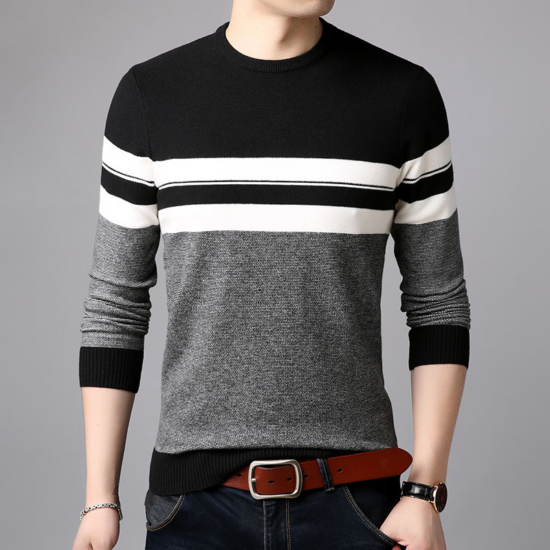 AIRGRACIAS 2019 Brand Casual Men Pullovers Knitted Striped Male Sweater Men Dress Thick Mens Sweaters Jersey Clothing Autumn New 4