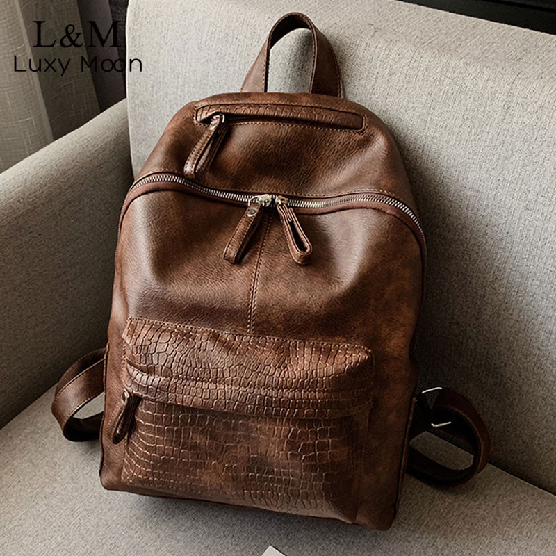 Alligator Backpack Vintage Leather Travel Bag For Women Large Capacity Teenager Girls A4 Bookbag Mochila Laptop Backpacks XA584H