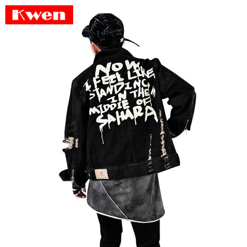 2019 Street clothing Hip hop style Jeans Jacket Mens Jackets And Coats Denim Jacket Mens Hole Clothes Cotton Jeans Jacket-in Jackets from Men's Clothing