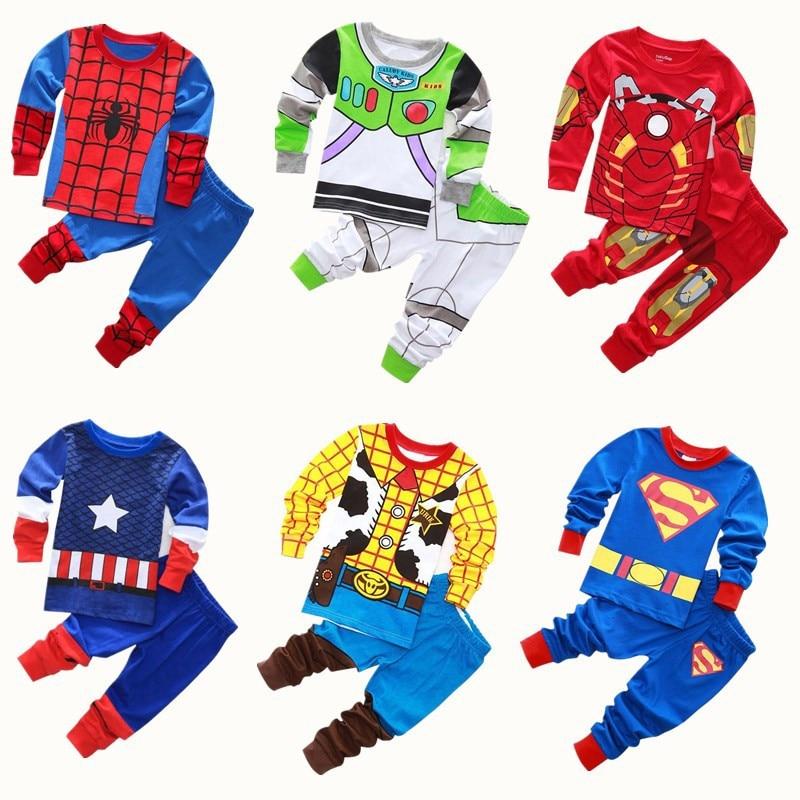 Avenger Kids Pajamas Baby Boys Clothes Girl Sleepwear Children Spiderman Sets West Cowboy Pyjamas Superman Toddle Clothing