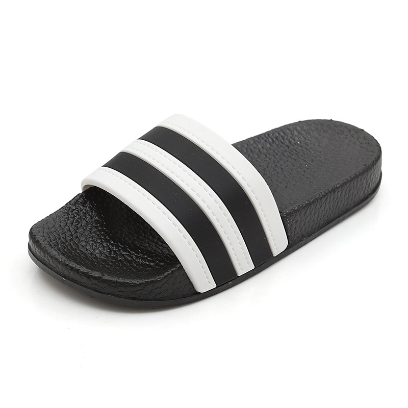 Fashion Stripes Children's Slippers Baby Girls Boys Barefoot Shoes Kids Skid Resistance Home Footwear Black-Sole Mix-Colors Beac