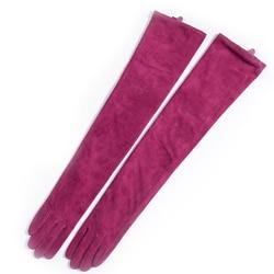 Gants classiques unis et longs en cuir suédé | 60cm(23.6 ), gants de soirée opéra multicolores