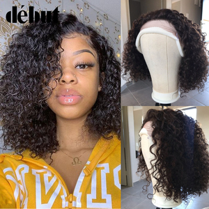 Image 1 - Debut Lace Front Human Hair Wigs Kinky Curly Wig Human Hair Short Bob Wigs For Black Women Wet And Wavy Curly Wigs Free Shipping