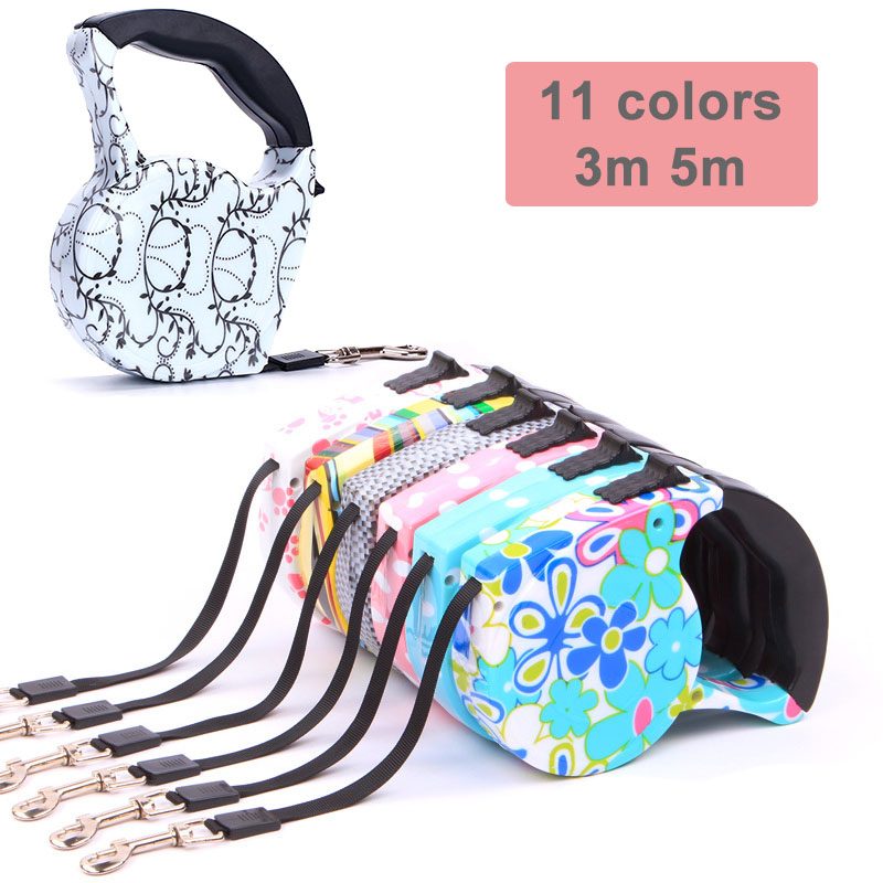 3m 5m Retractable Dog Leash 11 Colors Fashion Printed Puppy Auto Traction Rope Nylon Walking Leash for Small Dogs Cats Pet Leads|Leashes|   - AliExpress