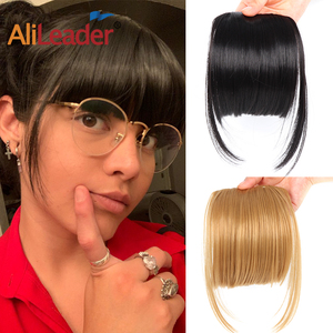 Alileader Short Straight Bang Extensions Synthetic Bang Hair Pieces For Women Heat Resistant Fringe Clip Bangs Blond Black Brown