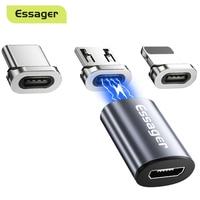 Essager magnética Micro USB adaptador imán Micro USB hembra a tipo C hombre convertidores para iPhone Xiaomi Samsung conector de Cable