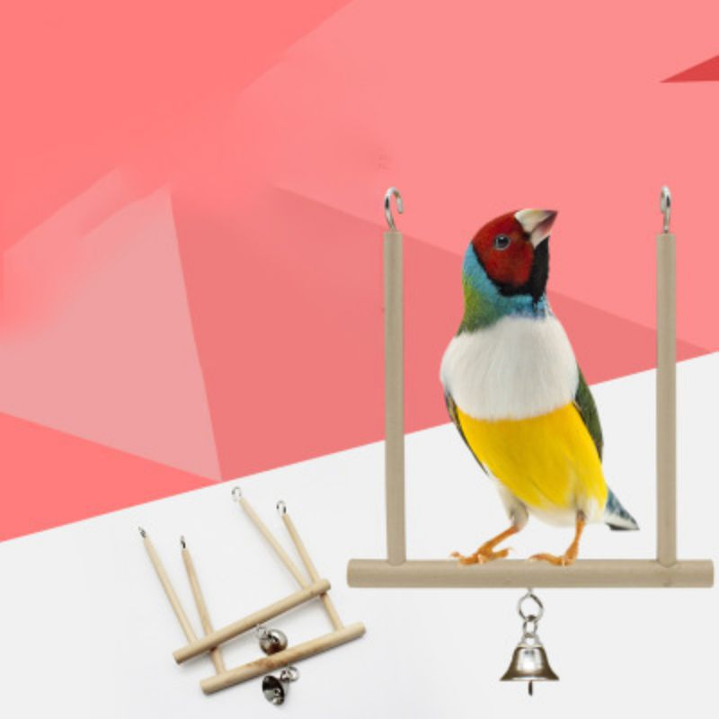 Bird Swing Toy Parrot Cage Climbing Pole Solid Wooden Bell Material Non Toxic Metal Hook font