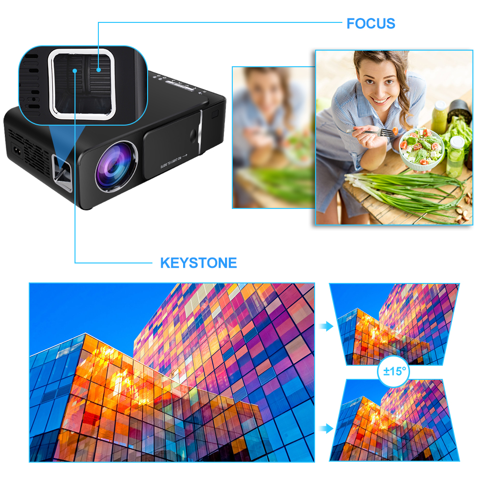 Vivicine 1280x720p projetor hd portátil, opção android 7.1 hdmi usb 1080p casa teatro proyector wifi mini led beamer - 5