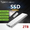 2TB/1TB M.2 Mobile Hard Disk Type C USB3.1 Portable SSD Shockproof Aluminum Alloy Solid State Drive 540MB/s Transmission Speed