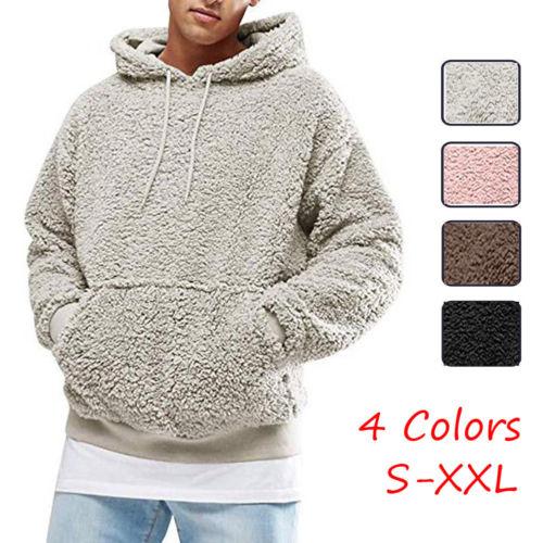 Hoodie dos homens sherpa velo sweatshirts fuzzy manga longa queda outwear inverno com capuz com bolsos canguru