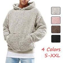 Mens Hoodie Sherpa Fleece Sweatshirts Fuzzy Long Sleeve Fall Outwear Winter Hood