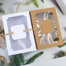 12Pcs Kraft Paper Gift Box with Window Wedding Favors Cookies Candy Christmas Gift Packaging Birthday Party Decoration Supplies