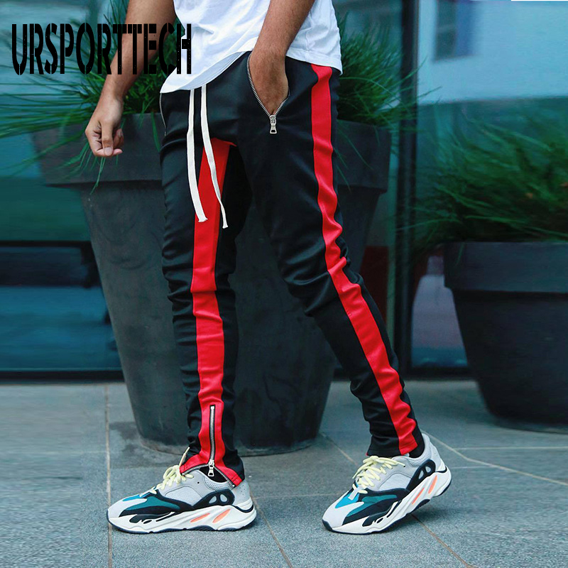 5 Colors Zipped Ankle Track Pants Waist Banding Panelled Side Stripe Zip Pockets Color Contrast Retro Trousers