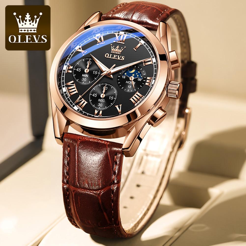 OLEVS Elite Mens Quartz Watches Business Dress Waterproof Wristwatch Men Luxury Breathable Leather Sports watch men Gifts 2
