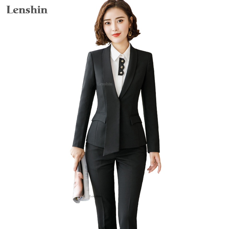Lenshin Formal Asymmetrical Gray Pant Suit For Women Work Wear Office Lady Elegant Style Business Jacket With Pants Sets