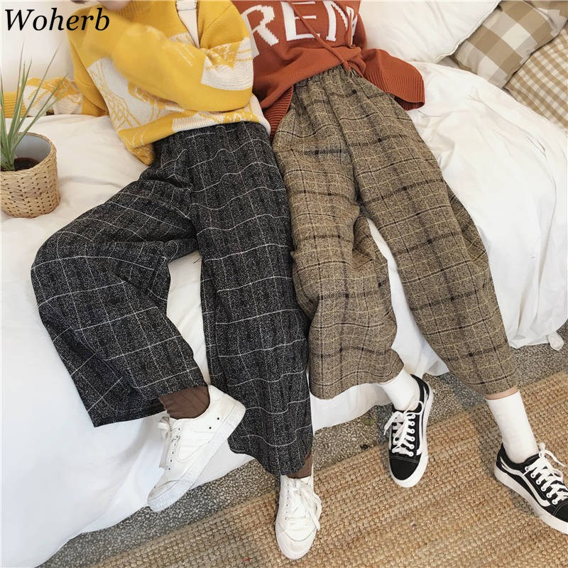 Woherb Harajuku Capri Plaid Pants Women High Waist Wide Leg Trousers Streetwear 2019 Casual Loose Female Pants Pantalones Mujer
