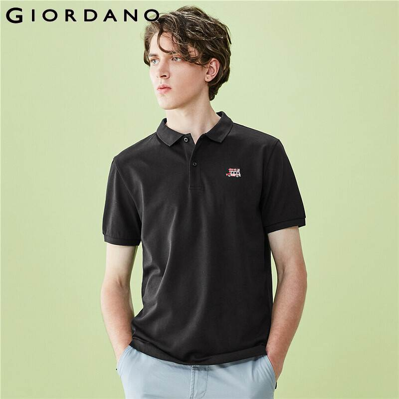 Giordano Men Polo Ribbed Turn Down Collar Embroidery Breathable Polo Tee Shirts Breathable Mesh Camiseta Masculina 13010211