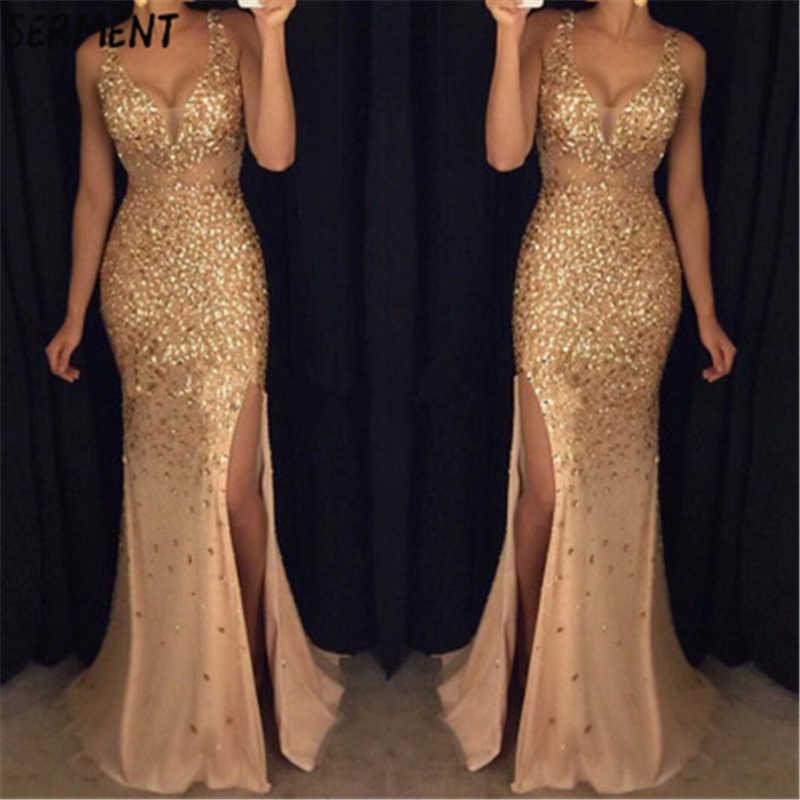 بيع جديد أنيق امرأة ثوب مسائي مزدوج الخامس الرقبة الذهب بريق مثير فستان سهرة أنيق مناسبة للحفلات الرسمية
