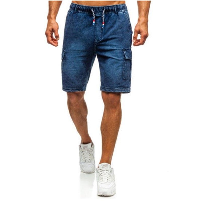 Men Streetwear Summer Loose Side Pocket Blue Denim Short Fashion Bermuda Hip Hop Male Solid Color Casual Joggers Jeans Shorts