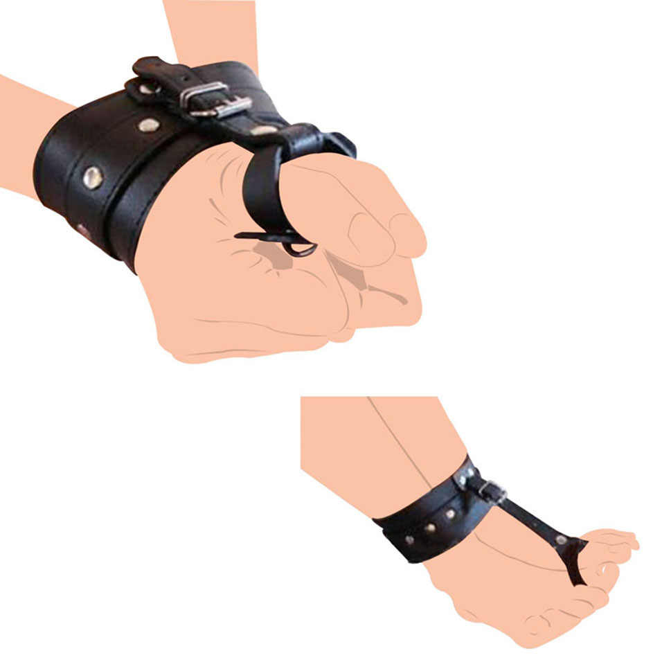 Sex BDSM Bondage Restraint PU Leather Hand Wrist to Thumbs Cuffs Bondage Belts Cosplay Ankle Wrist Hogtie Strap with Toes