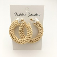 rattan hoop earring Rattan stud wicker straw Lafite earrings 2019 Fashion Woman Jewelry