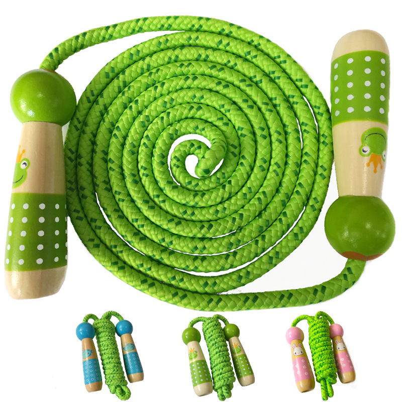 Wood Jump Rope Children Young STUDENT'S Jump Rope For One Person Kindergarten Beginner Adjustable Sports Outdoor Toy. 13