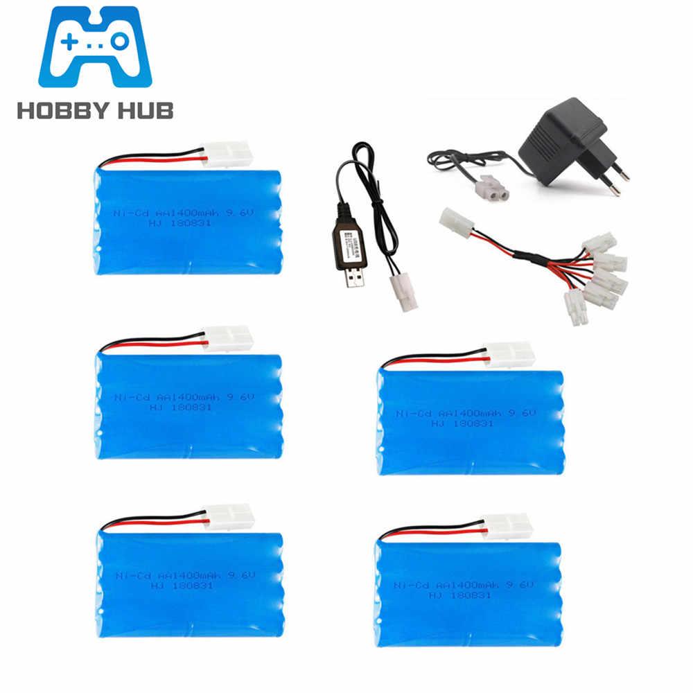 Batería Ni-CD de 9,6 V 1400mAh y juego de cargador USB/UE para RC car RC camión RC tanque RC juguetes modelo 9,6 v baterías Tamiya enchufe