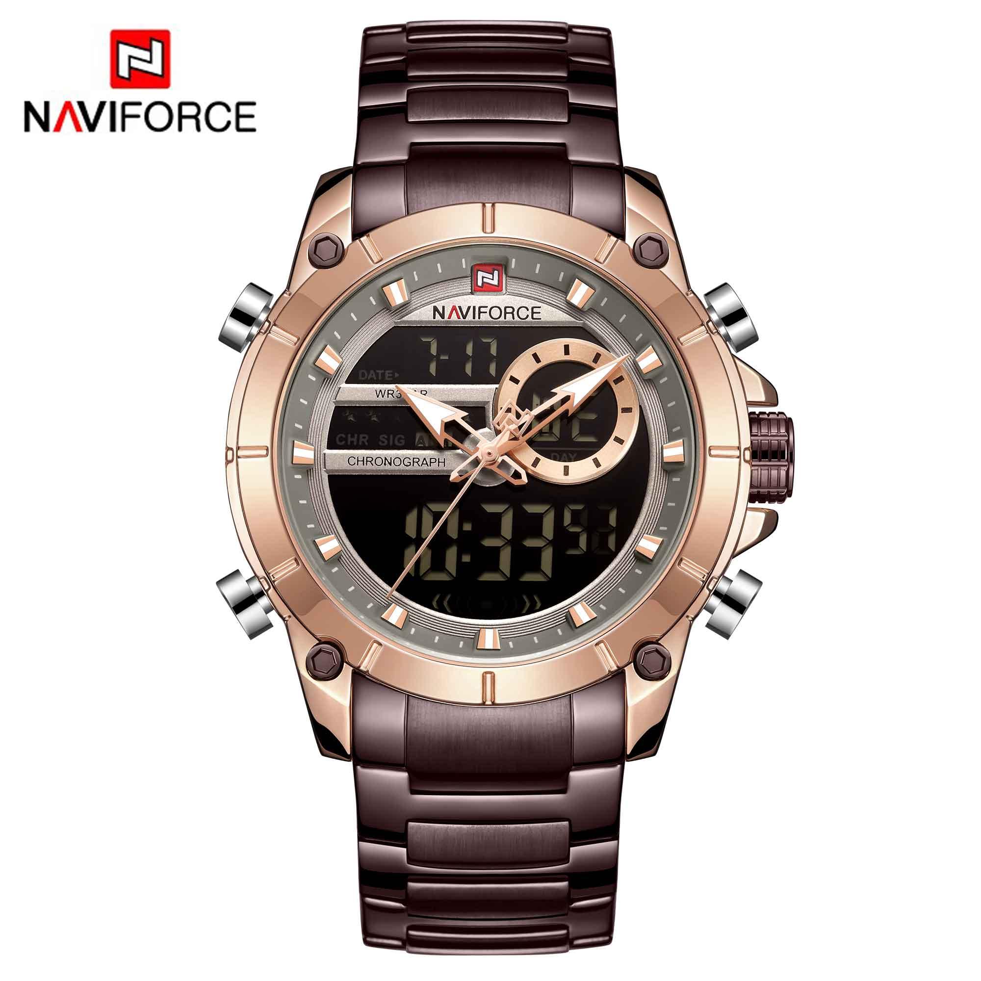 NAVIFORCE Hot Men Watches Fashion Casual Bussiness Quartz Watch Men Military Chronograph Stainless Steel Wristwatch Reloj Hombre 2