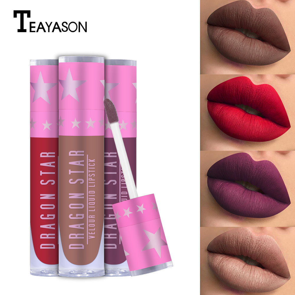 NEW Brand Dragon Stars Matte Lip Gloss Makeup Tint Liquid Matte Lipstick Velvet waterproof long lasting BeveHill lip kit image