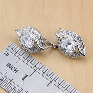 Image 3 - Natürliche 925 Sterling Silber Braut Schmuck Weiß Zirkon Schmuck Sets Für Frauen Hochzeit Ohrringe Anhänger Halskette Ringe Armband