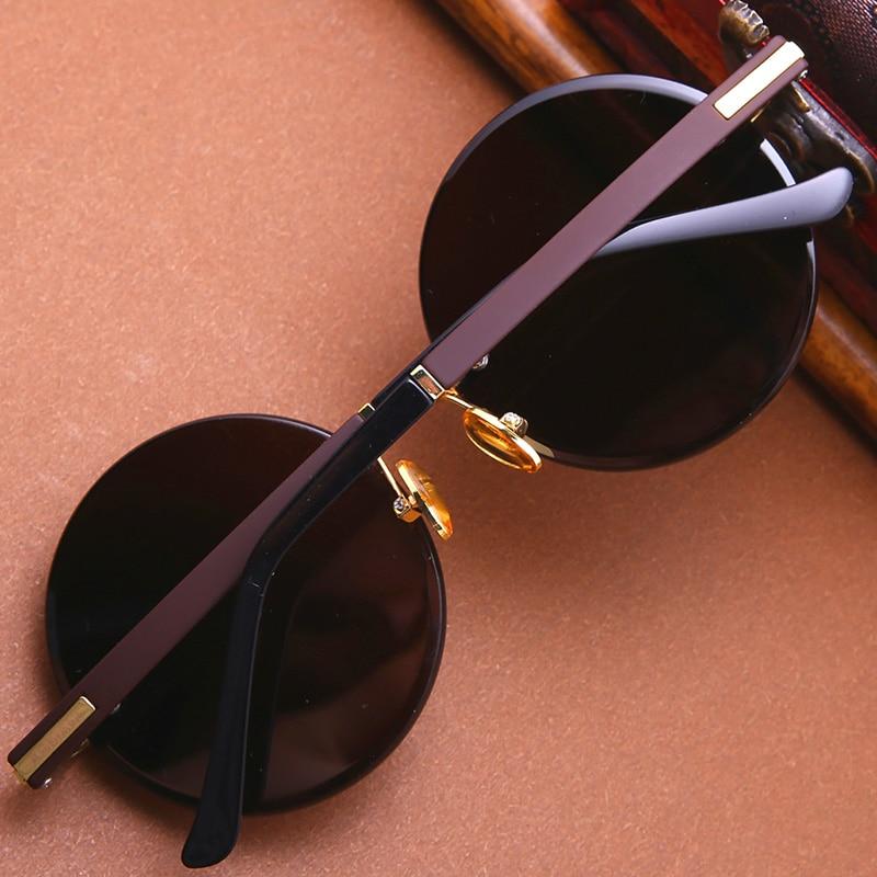 Vazrobe gafas de sol de vidrio cristal Natural marrón negro gafas Anti seco ojo proteger sin montura redondo Anti reflejo rasguño UV400