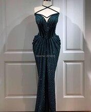 2020 Junoesque Halter Mermaid Evening Dress Floor Length Sleeveless Prom Dress Lace Beaded Formal Dress Middle East Saudi Arabia