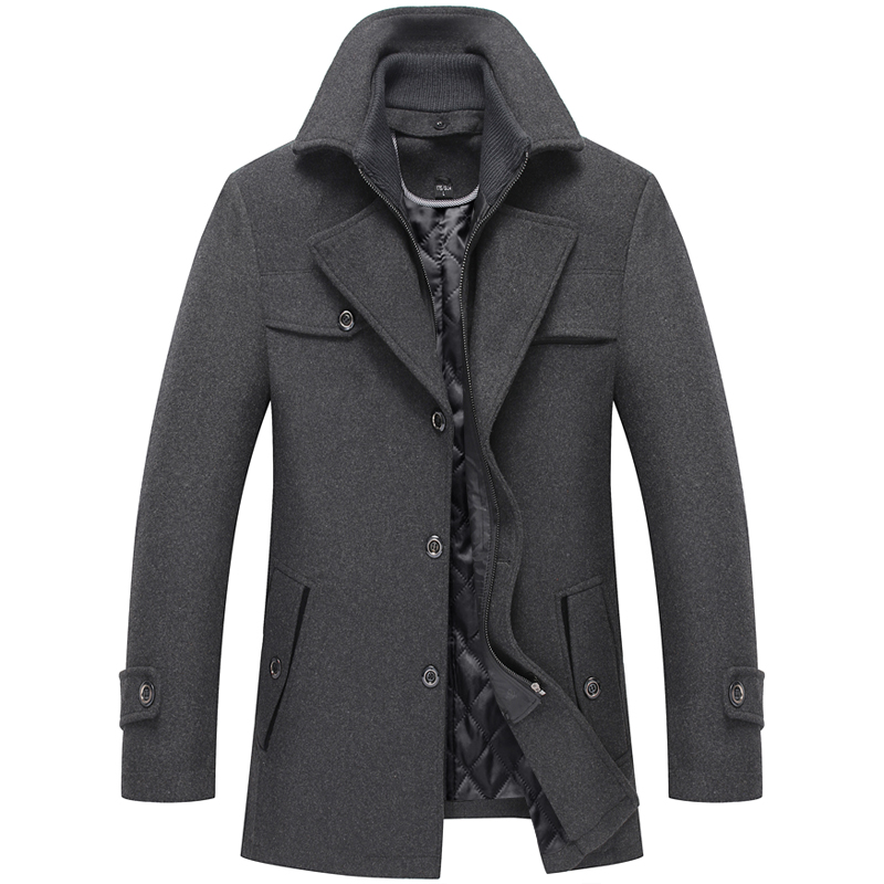 Thoshine Brand Winter 50% Wool Men Thick Coats High Quality Slim Fit Fashion Wool Blends Outerwear Liner Casual Jackets Pockets