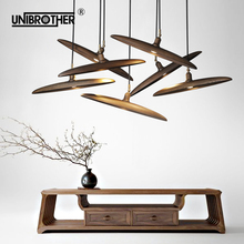 Modern Pendant Lights Solid Wood Simple Bar Restaurant Living Room Lamp Creative Personality Coffee Teahouse Lighting creative wooden iron 1 3 heads pendant lamps personality bar pendant lamp wood log restaurant lighting pendant light za928048