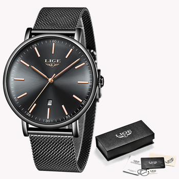 LIGE Womens Watches Top Brand Luxury Waterproof Watch Fashion Ladies Stainless Steel Ultra-Thin Casual Wristwatch Quartz Clock 12