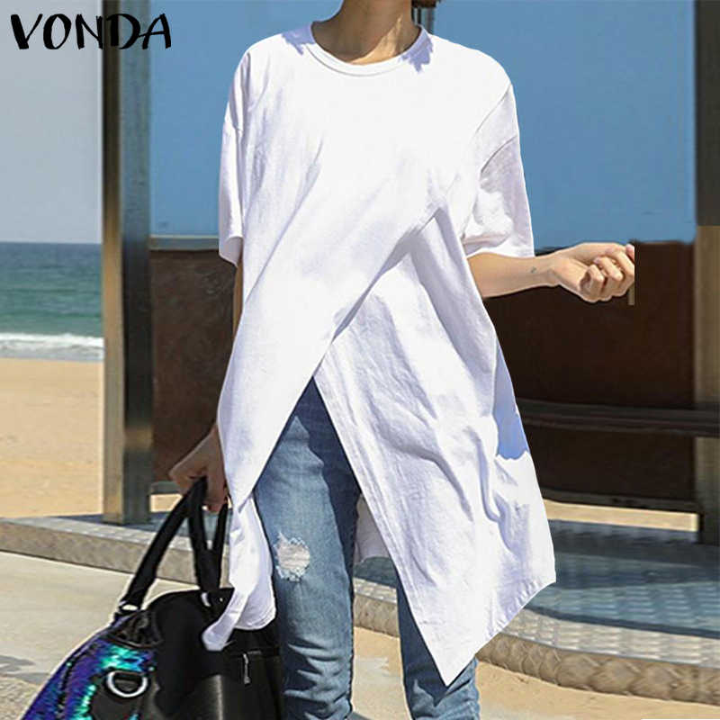 2020 Witte Tops Vrouwen Blouse Plus Size Vonda Zomer Casual Sexy Korte Mouw Ronde Hals Split Zoom Party Shirts Bohemian blusa