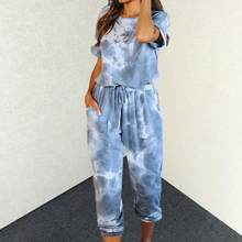 Women's Clothing 2-piece Tie-dye Printing Drawstring Casual Pants Short-sleeved T-shirt Female Lace-up Trousers Suit 2020 Summer(China)
