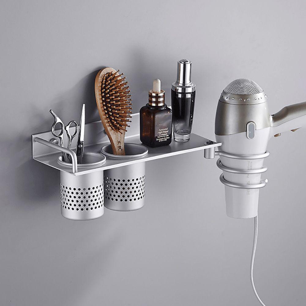 1pc Hair Dryer Rack with Basket Aluminium Bathroom Wall Shelf Hair Comb Brush Plug Holder Bathroom Accessories Storage Basket