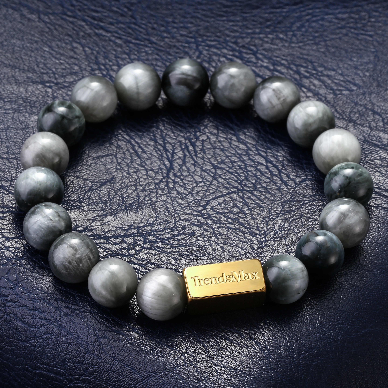 10mm naturalny kamienny koralik rozciągliwa bransoletka dla kobiet mężczyzn 925 srebrny kamień lawowy Eagle Tiger Eye olejek grawerowanie prezent TBB016