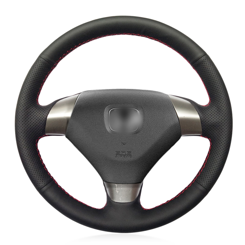 Hand Sew Black Artificial Leather Car Steering Wheel Cover for Honda Accord 7 Coupe 2003 2003 2004 2005 2006 2007 (3-Spoke)